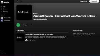 Zukunft bauen. Ein Podcast von Werner Sobek zum Thema regeneratives Bauen. Screenshot: Werner Sobek