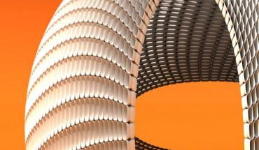 4760 offene, elegant geformte Steine bilden das 'Ei', eine Skulptur im Raum. Es ist ein Pavillion, geschaffen mithilfe des 3D-Drucks. Grafik: Studio Michiel van der Kley