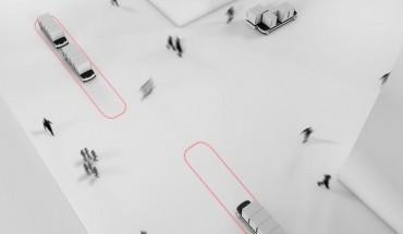 Kai Willenbrock erhält den Mia Seeger Preis 2015 für seinen 'Urbanen Warentransport – Autonome Fahrzeuge im Stadtkontext'. Die Idee: Mehr Warentransport bei weniger Verkehr. Foto: Mia Seeger Stiftung