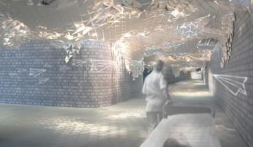 Die Inszenierung und Umgestaltung des unterirdischen Verbindungsgangs der Universitätsmedizin Mainz wurde im Rahmen des Masterstudiengangs an der Uni Mainz durchgeführt. Foto: Tunnelflieger