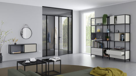 Parsol_black;_Swing_Door_Slim_Line_double-leaf_with_top_light_and_side_section,_handle_black_matte