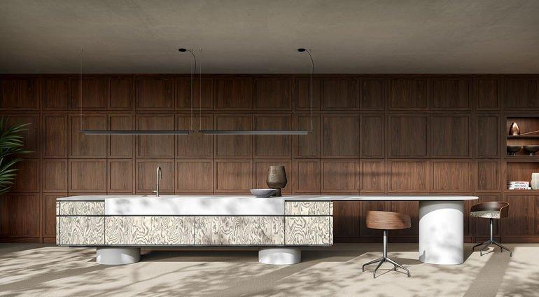 Küche mit Holzfront und Mineralwerkstoff Arbeitsplatte