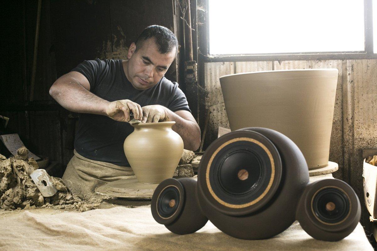 nachhaltige Materialien Lehmlautsprecher
