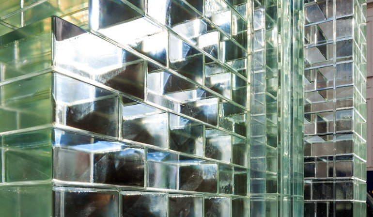 Fassade aus Glasbausteinen