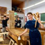 Architekturstudierende der TU Graz in Werkstatt