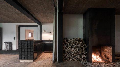verkohltes holz, destilat, Holz, Lounge, Shou Sugi Ban, Alpen-Chalet