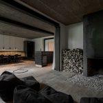 verkohltes holz, destilat, Holz, Lounge, Shou Sugi Ban, Alpen-Chalet, Stahlblech