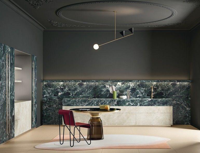Küchentrends 2021: Wohnküche mit Steinwand