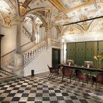 Ein Marmorboden mit schwarzweißem Schachbrettmuster im Eingangsbereich des Palazzo Grillo zeugt vom Reichtum des einstigen Erbauers. Foto: Marcello Moscara